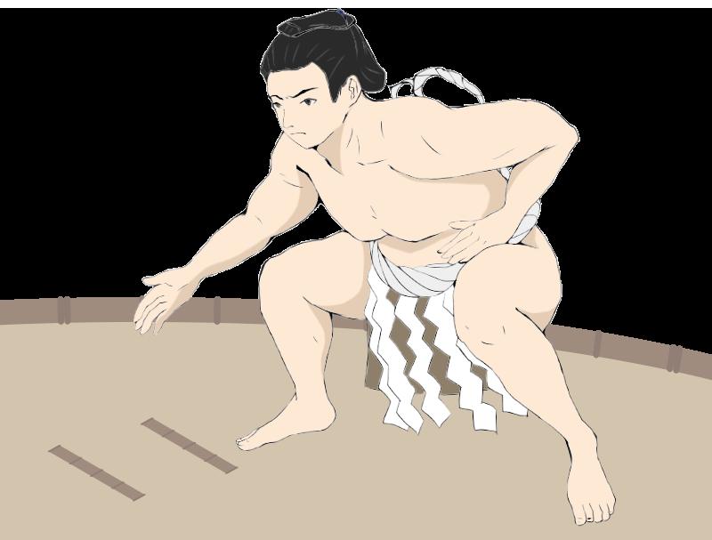 力士と土俵の相撲イラスト