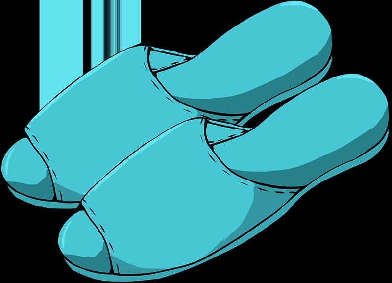 青いスリッパのイラスト
