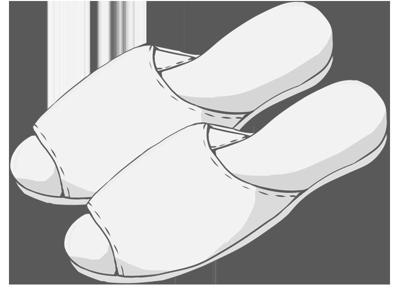 白いスリッパのイラスト