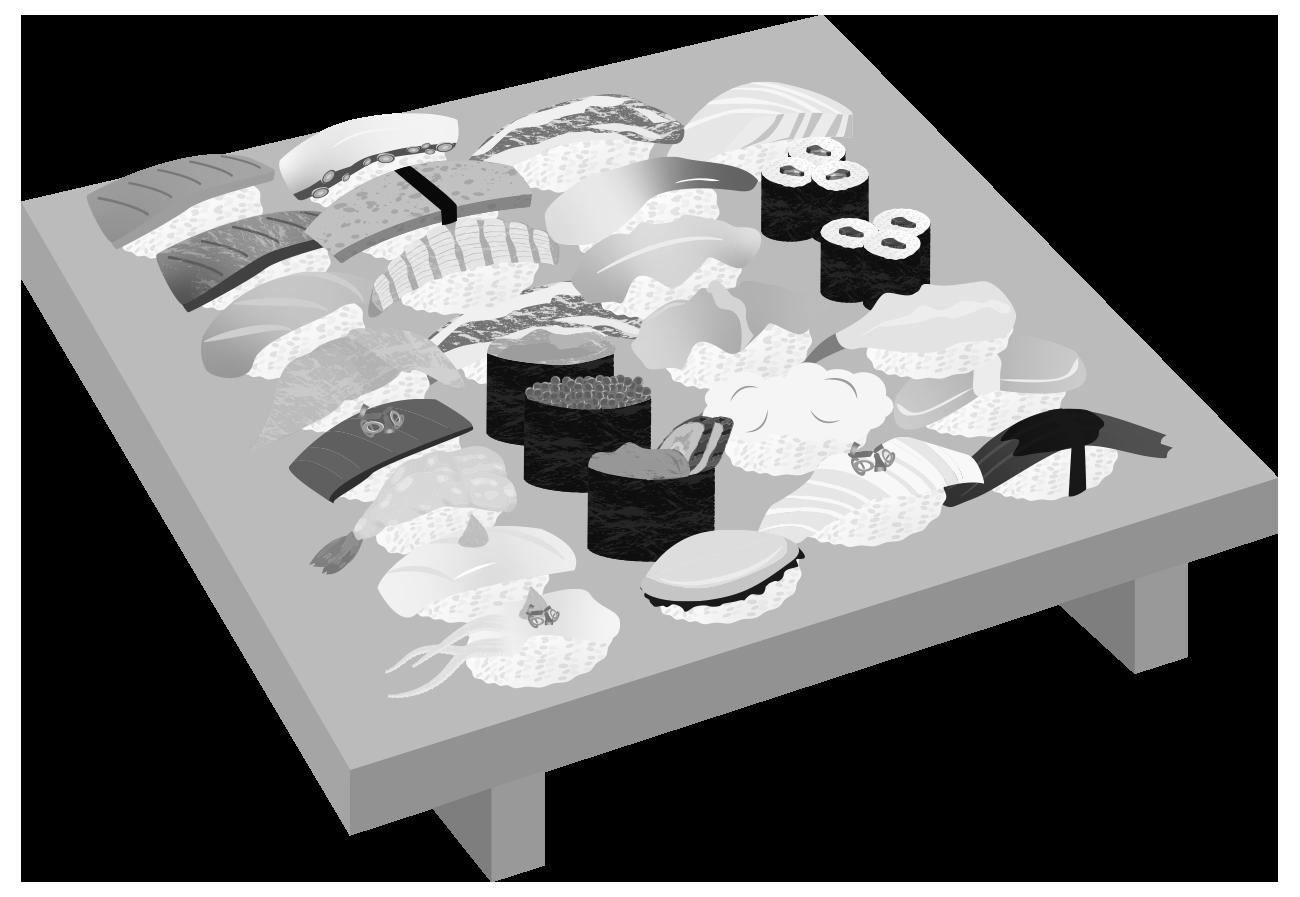 寿司全種類(白黒)のイラスト