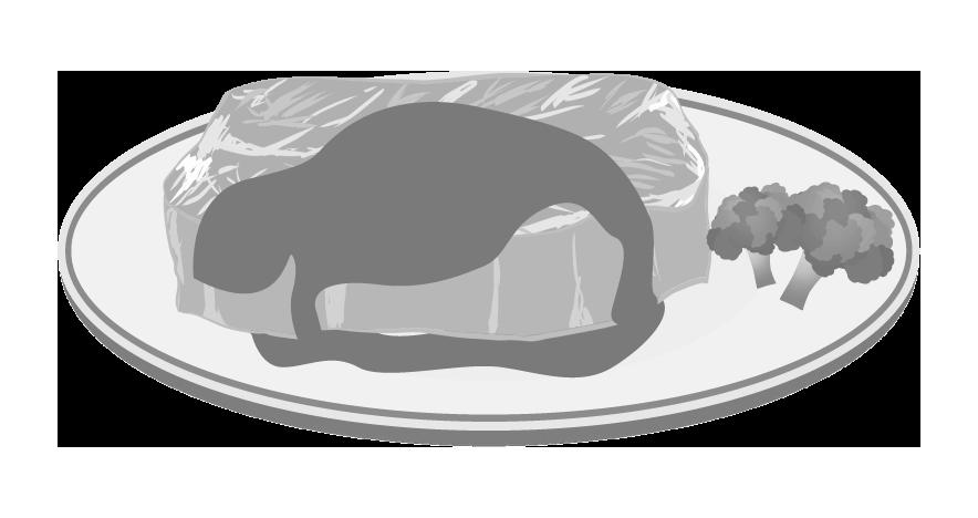 白黒印刷用のステーキのイラスト
