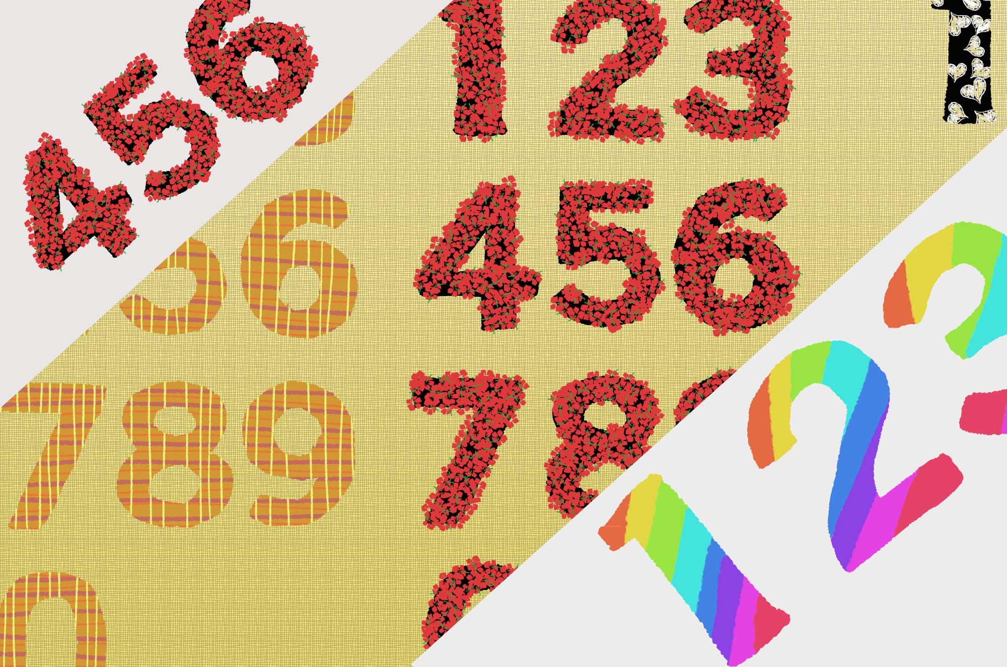 数字イラスト - 手描き風の可愛い1〜9・0の無料素材