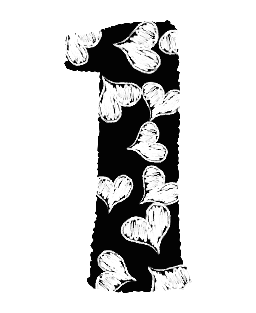 手描きのハートの数字イラスト1