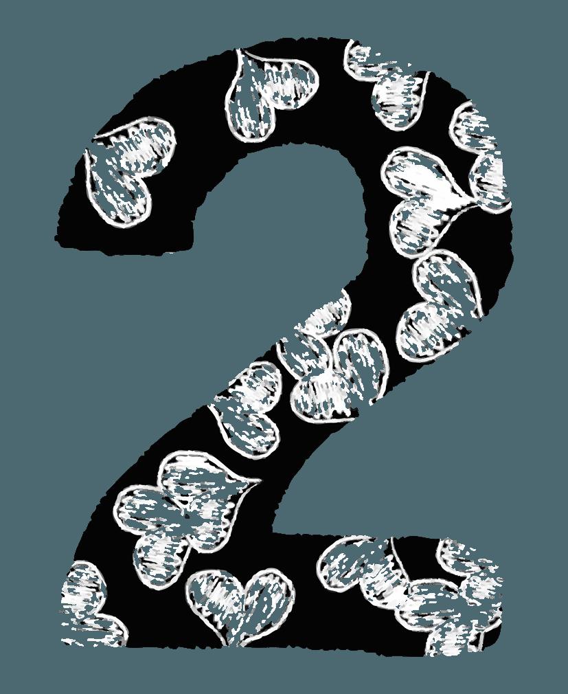 手描きのハートの数字イラスト2