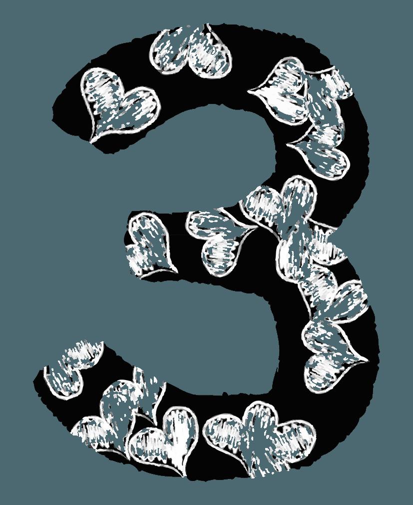 手描きのハートの数字イラスト3