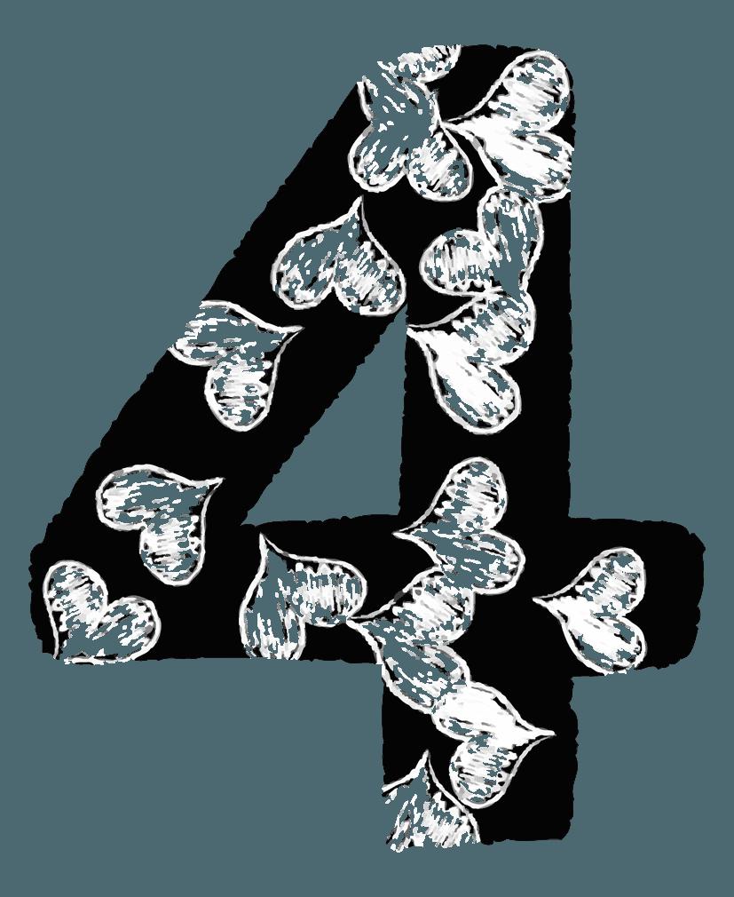 手描きのハートの数字イラスト4