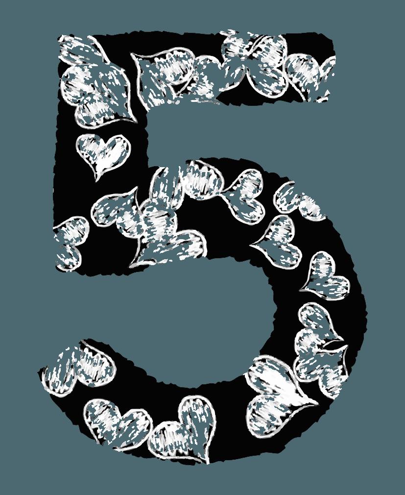 手描きのハートの数字イラスト5