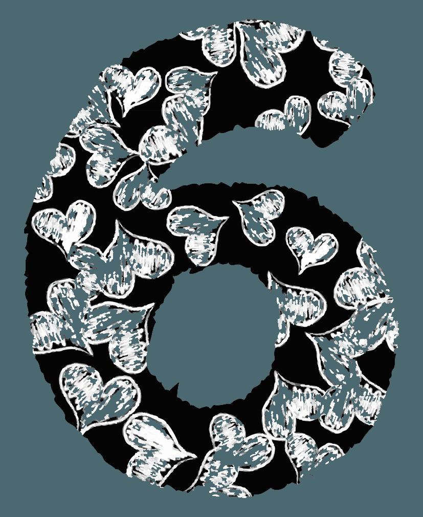 手描きのハートの数字イラスト6
