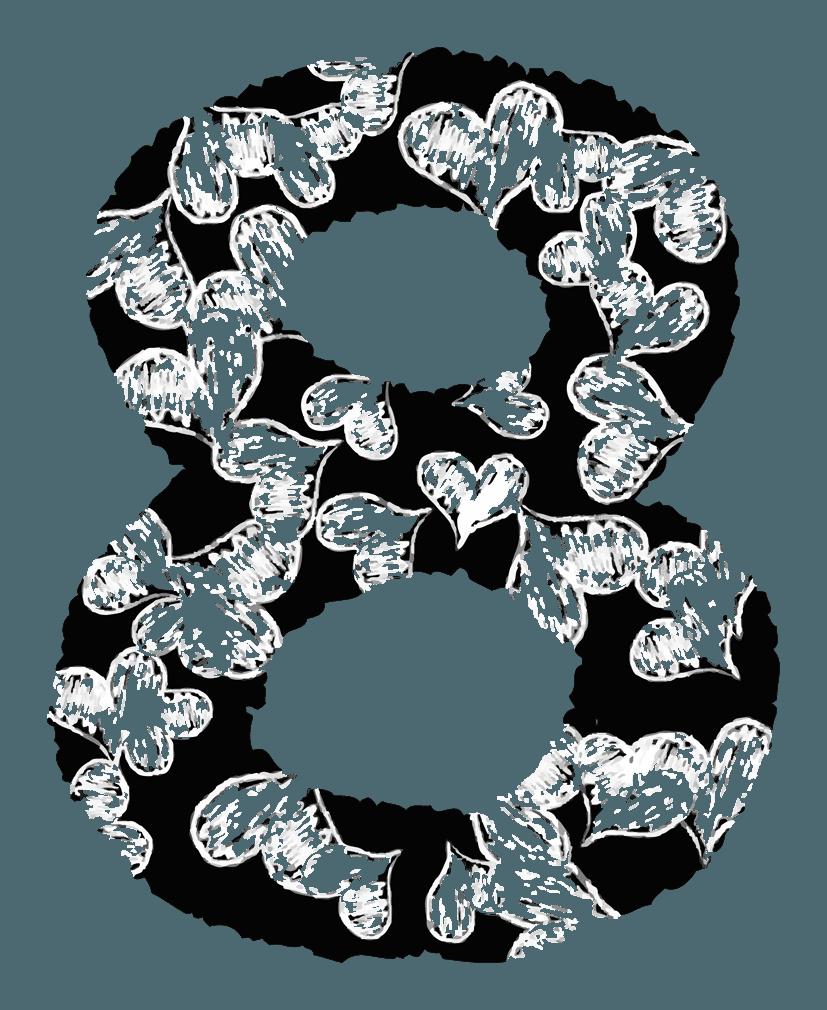 手描きのハートの数字イラスト8
