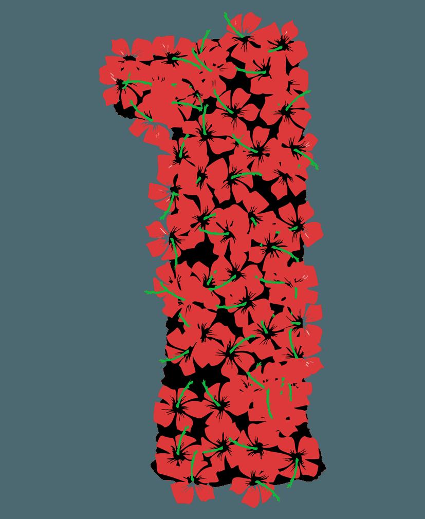 花柄の数字イラスト1