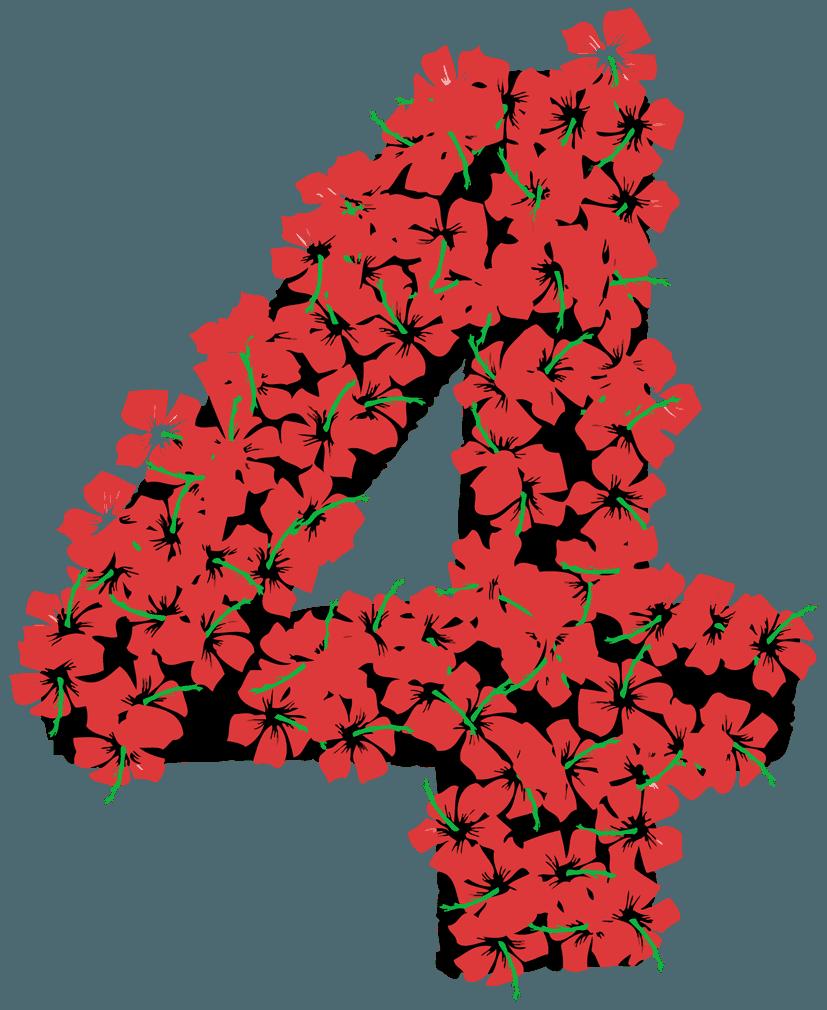 花柄の数字イラスト4