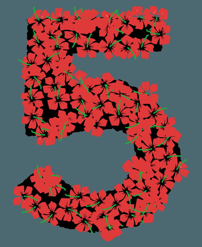 花柄の数字イラスト5