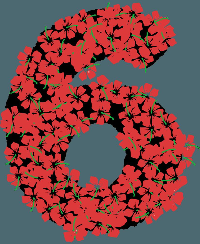 花柄の数字イラスト6