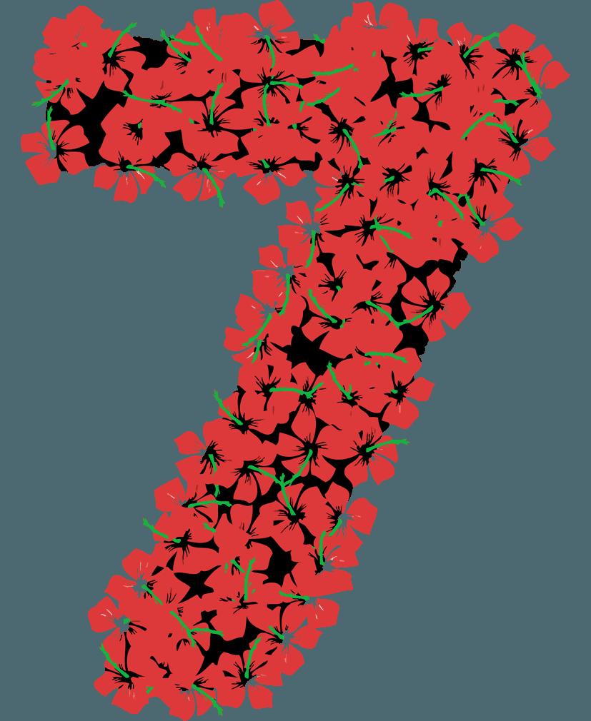 花柄の数字イラスト7