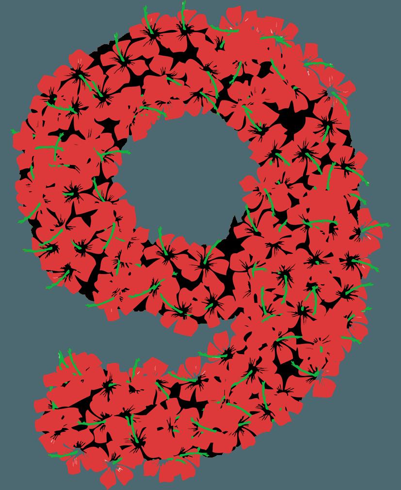 花柄の数字イラスト9
