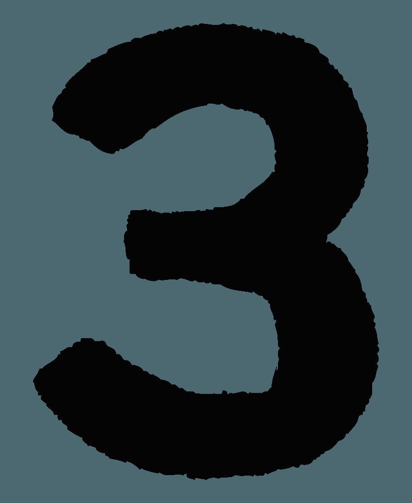 手描きの数字イラストノーマル3