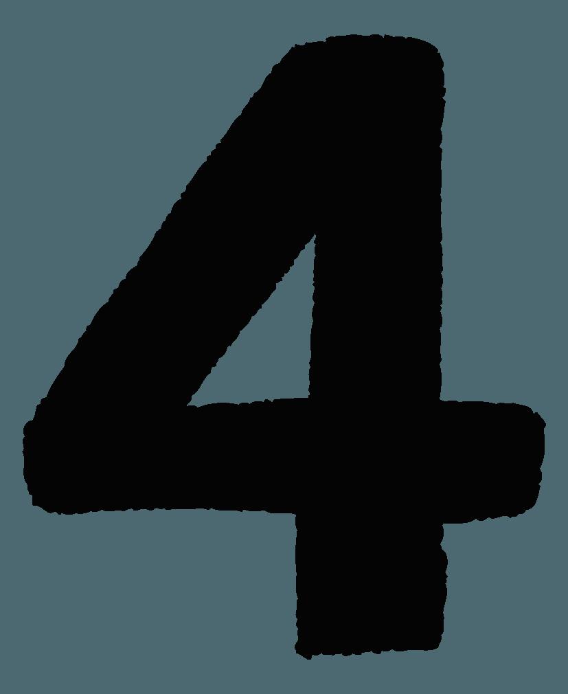 手描きの数字イラストノーマル4