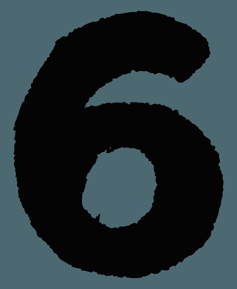 手描きの数字イラストノーマル6