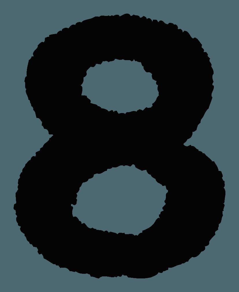 手描きの数字イラストノーマル8