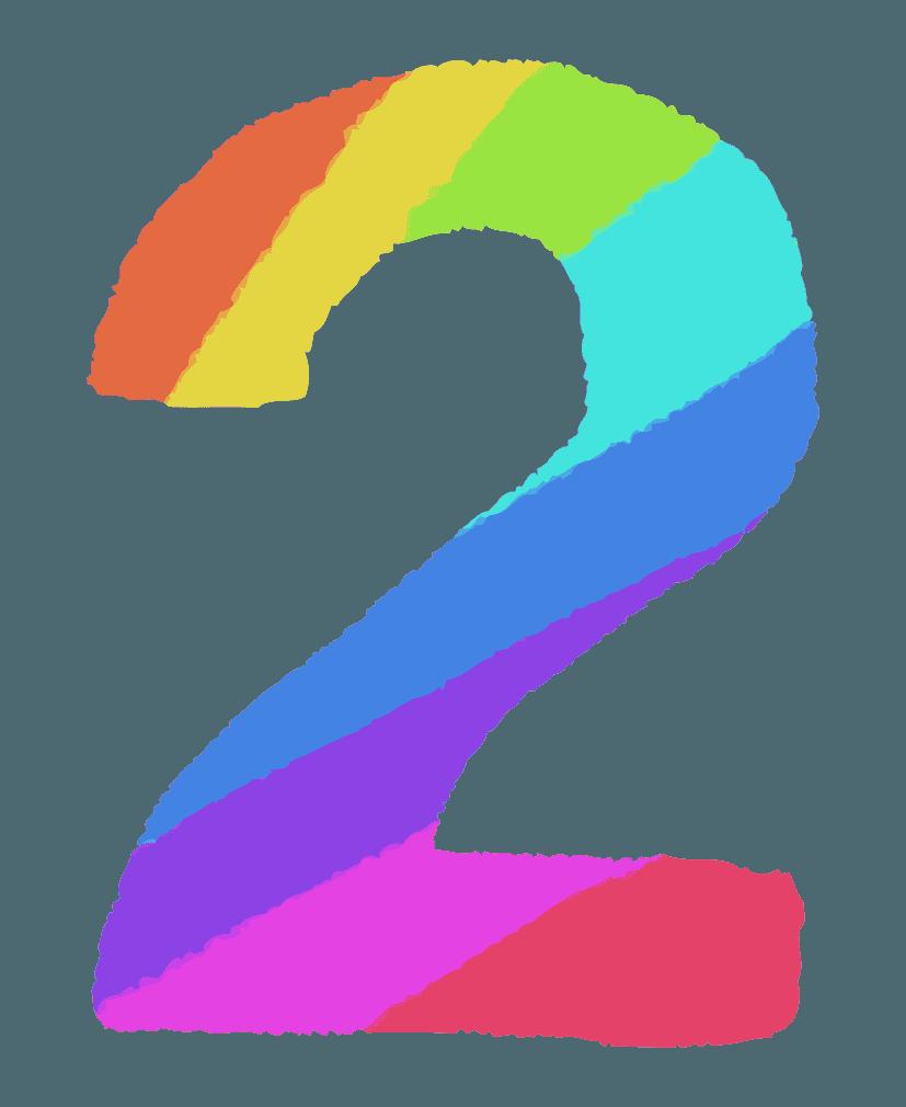 レインボーカラーの数字イラスト2