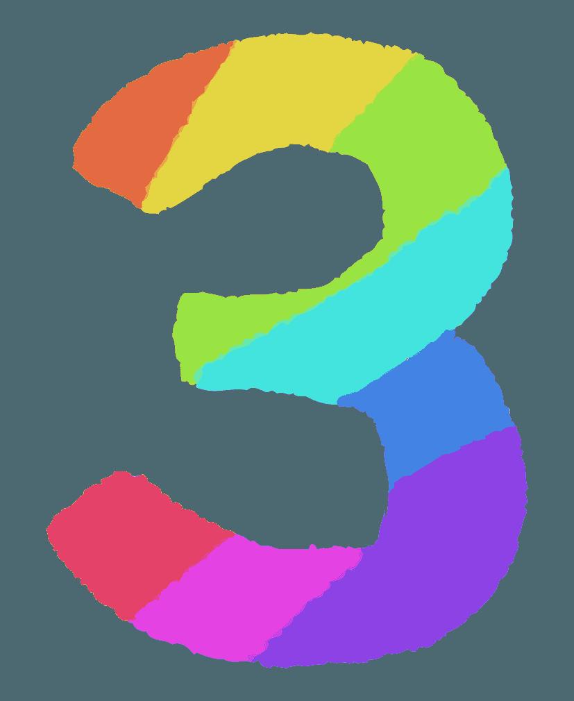 レインボーカラーの数字イラスト3