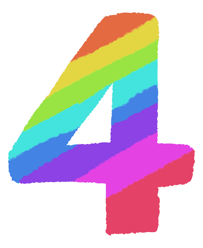 レインボーカラーの数字イラスト4