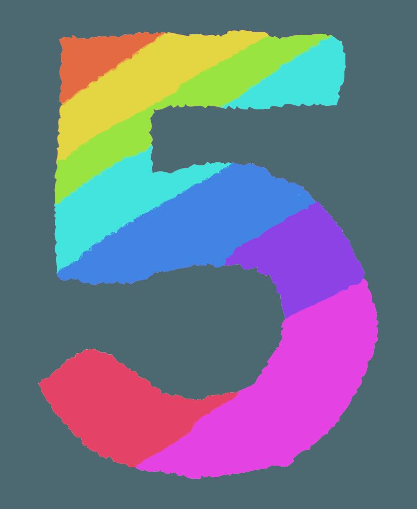 レインボーカラーの数字イラスト5