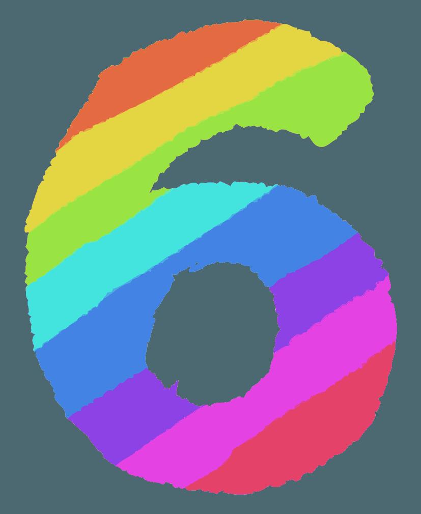 レインボーカラーの数字イラスト6