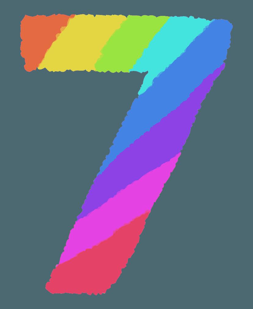 レインボーカラーの数字イラスト7