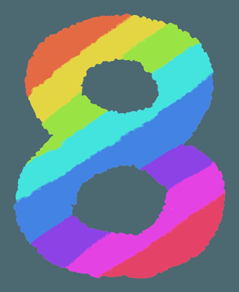 レインボーカラーの数字イラスト8