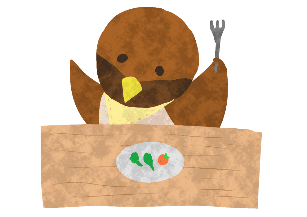 食事中の可愛いすずめすずめイラスト