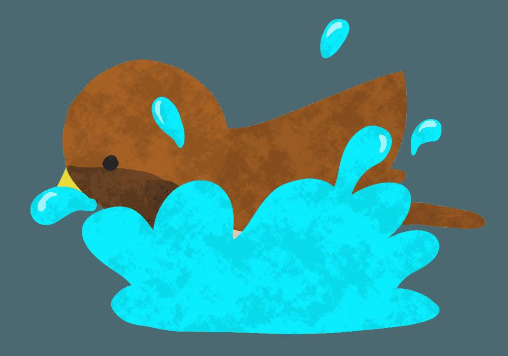 すずめの行水イラスト