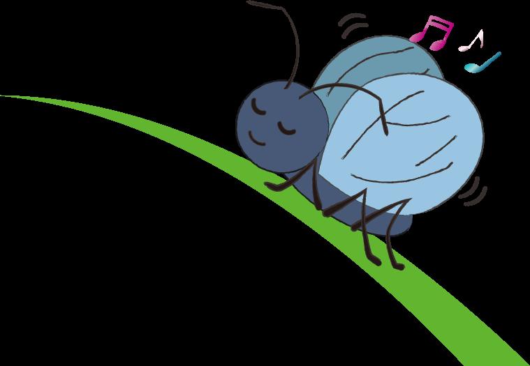 草の上で綺麗な音色を出す鈴虫のイラスト
