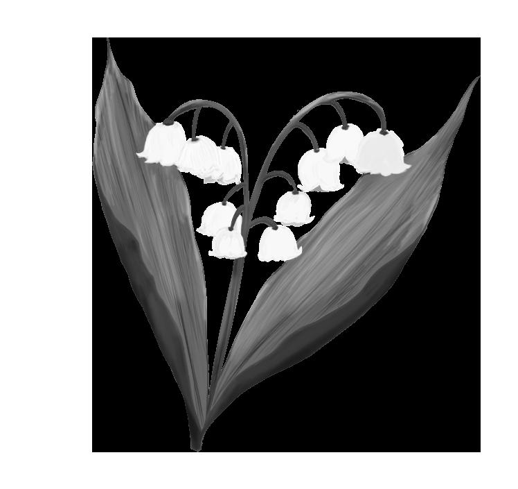 白黒のすずらんのイラスト