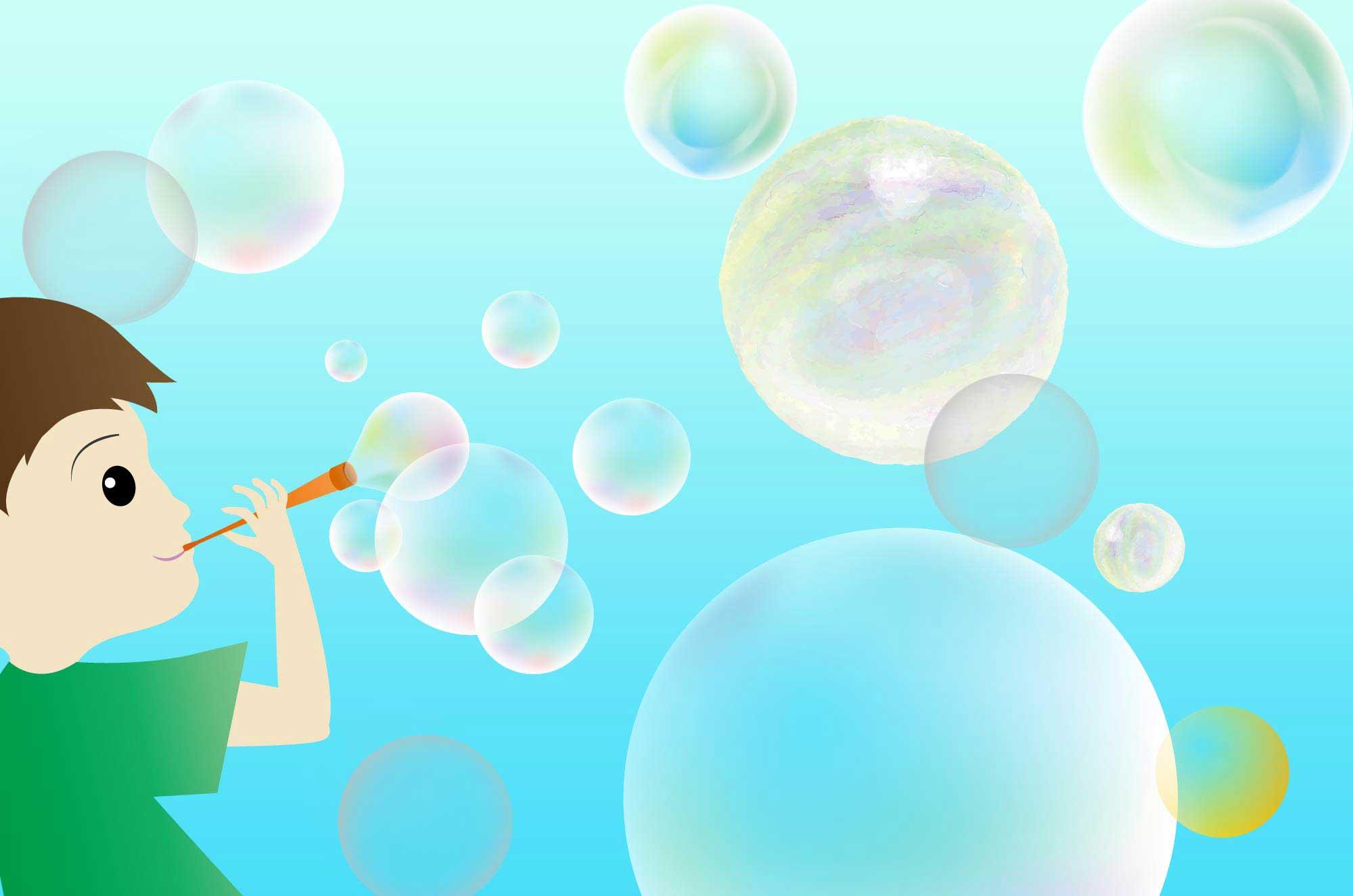 シャボン玉イラスト - ふわふわ空に浮く綺麗な無料素材