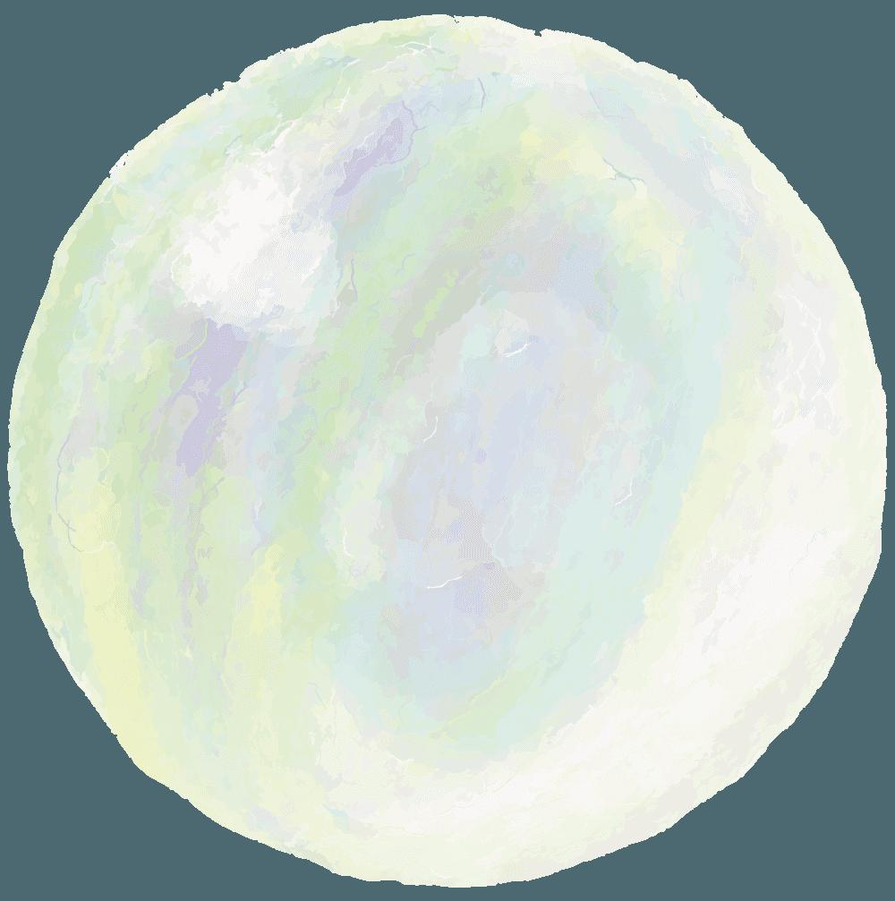 水彩絵の具のシャボン玉イラスト
