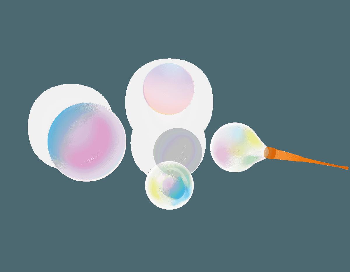 シャボン玉を吹く瞬間のイラスト