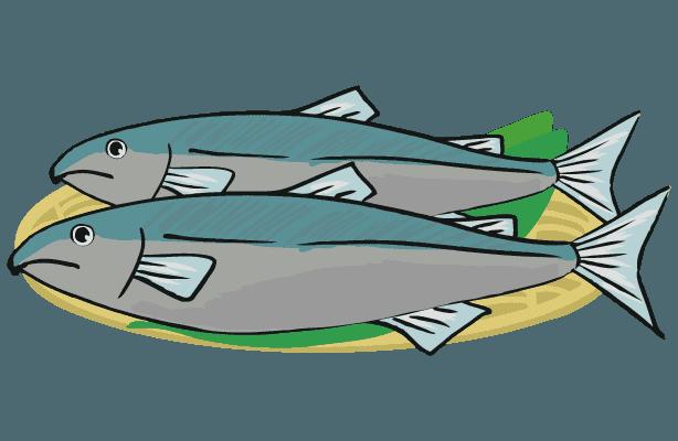 飾りつけられた鮭のイラスト