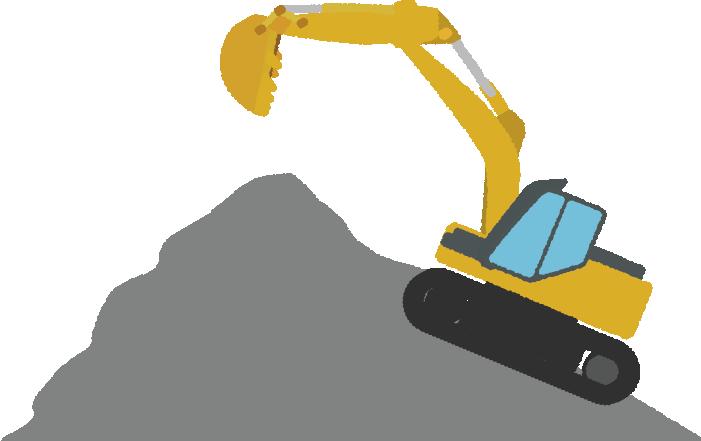 採石場で頑張るショベルカーのイラスト