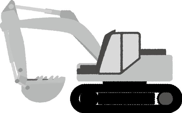 白黒印刷用ショベルカーのイラスト