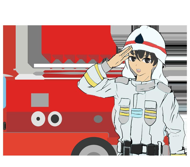 消防車と消防士のイラスト