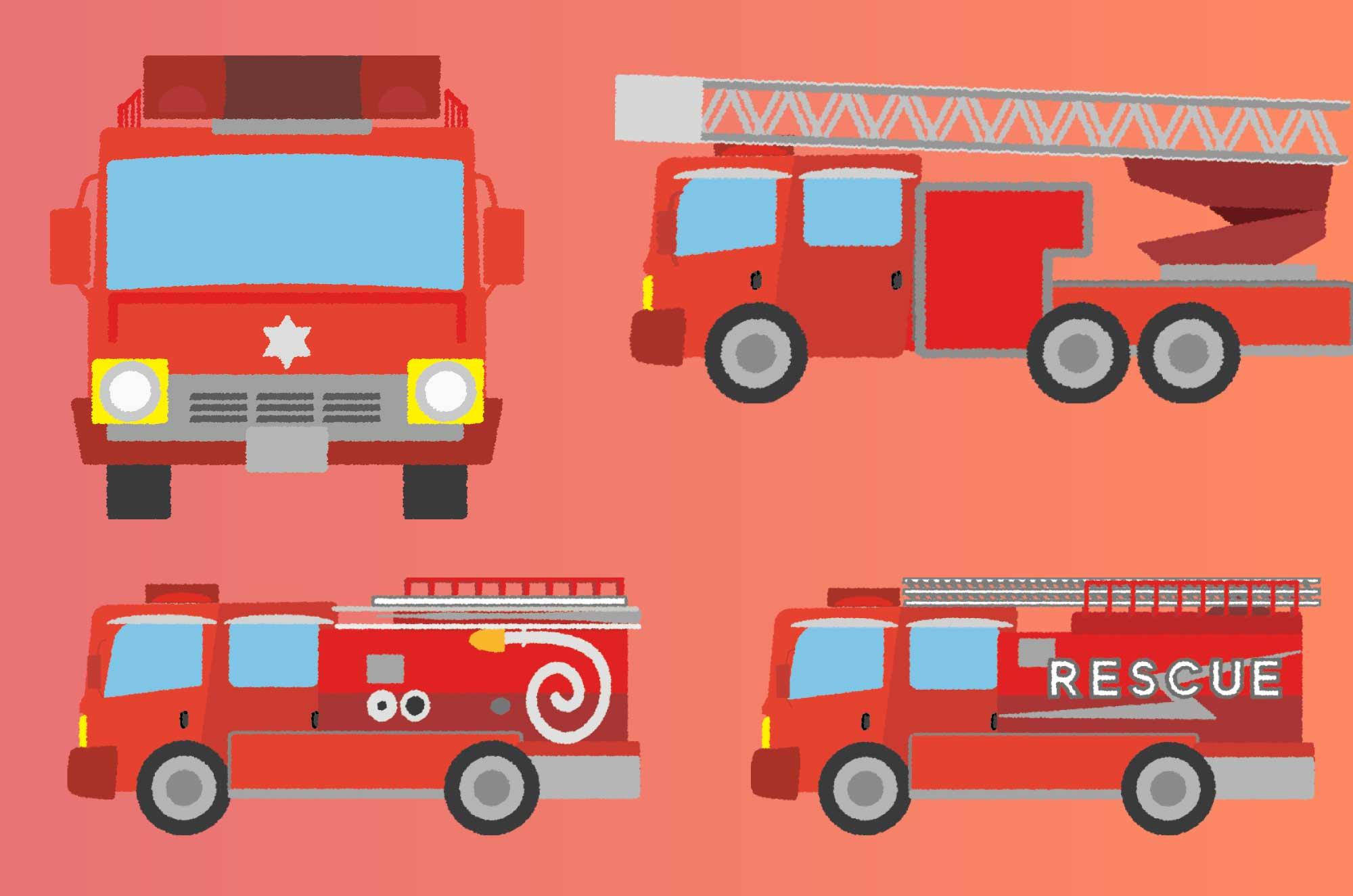 消防車のイラスト - レスキュー・ハシゴ車の無料素材