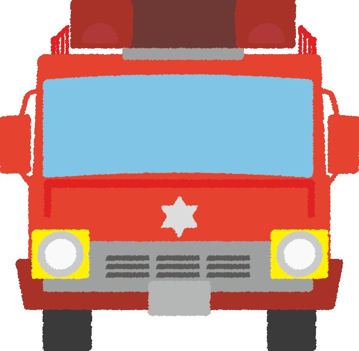 可愛い消防車のイラスト(正面)