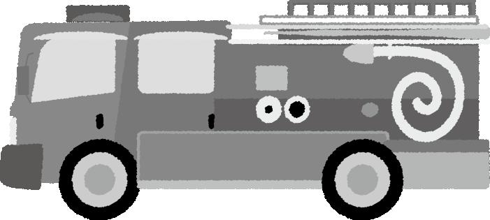 可愛い消防車の白黒イラスト