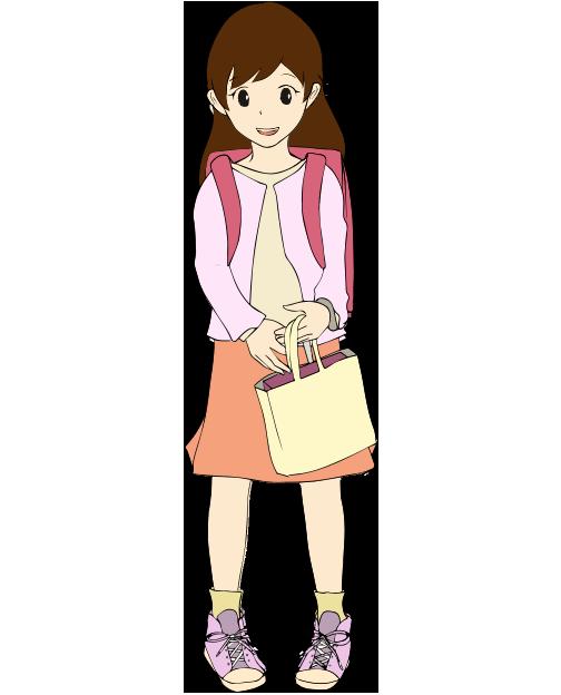 可愛い女の子の小学生のイラスト