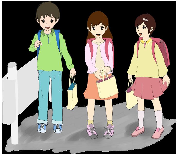 楽しそうに学校へ通学する小学生のイラスト