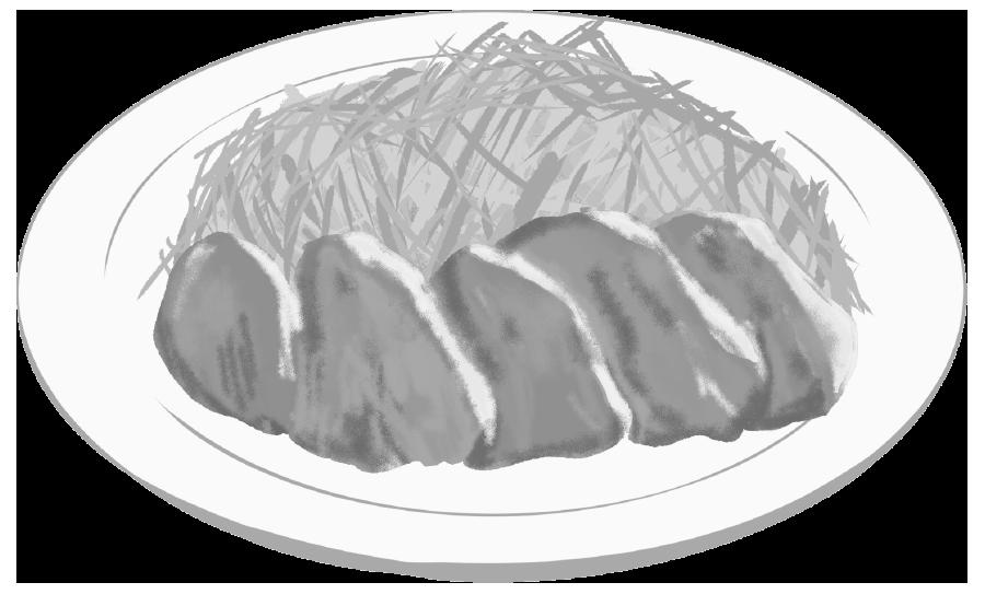 生姜焼きのイラスト(白黒)