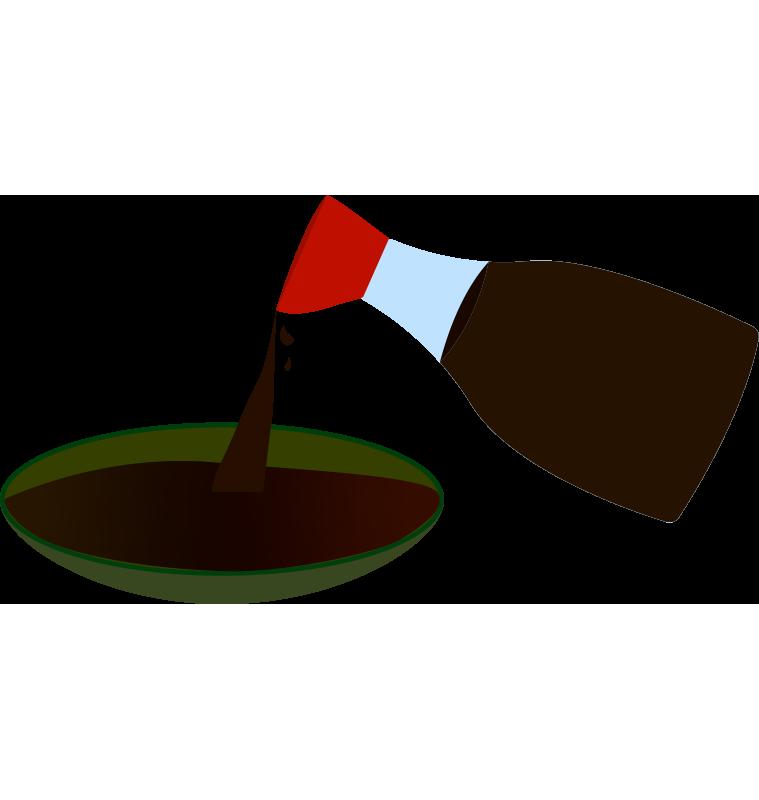 醤油を皿に注ぐのイラスト