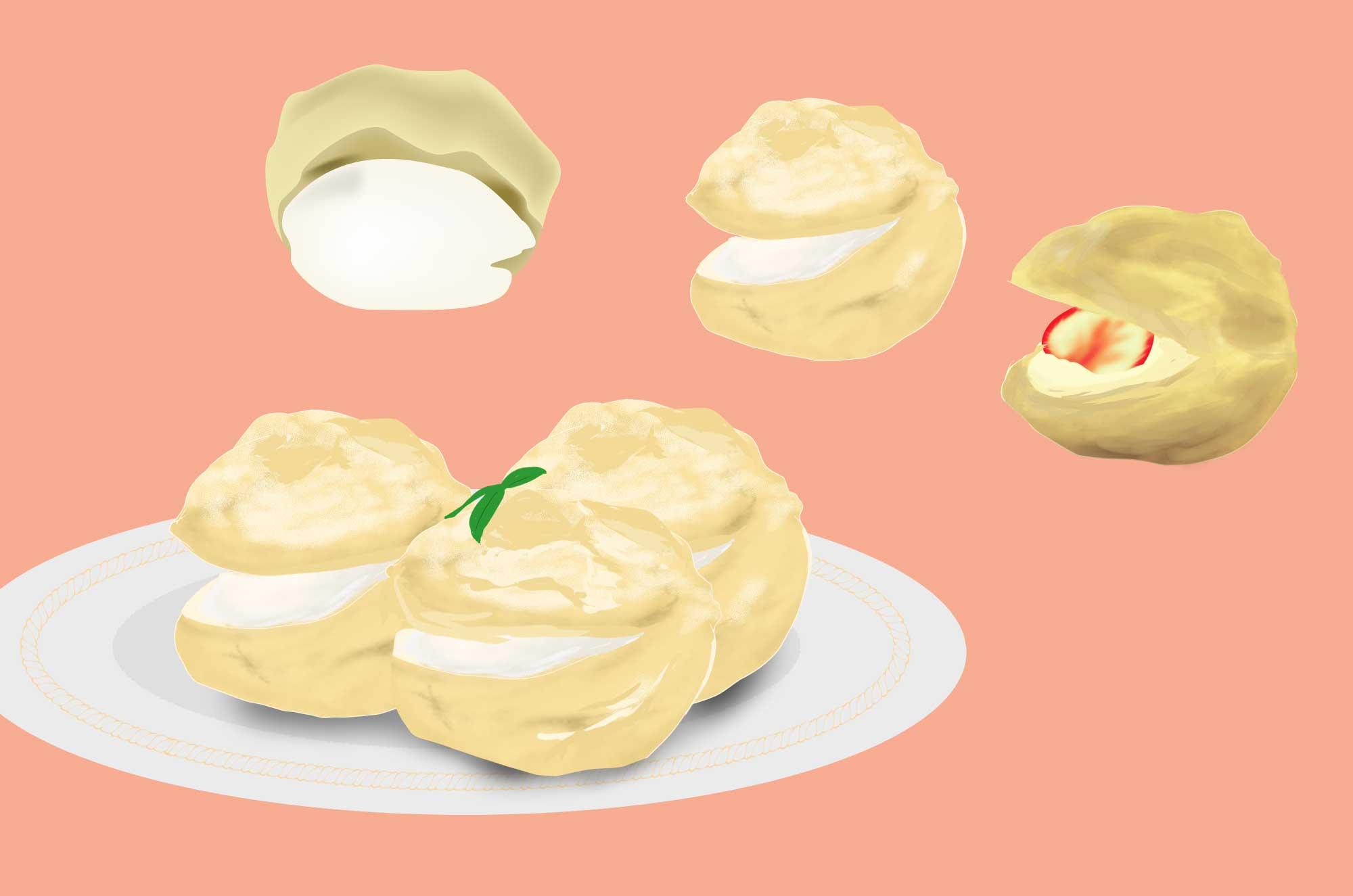シュークリームのイラスト - 可愛いお菓子の素材
