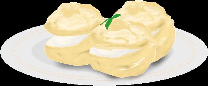 皿に盛られた美味しそうなシュークリームのイラスト